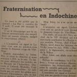 Article dans La Vérité - Fraternisation Indochine 1947
