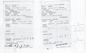 Fiches remplies par Mushim Plocki et Rywka indiquant le convoi du 27 juillet 1942 annotations Jenny Plocki