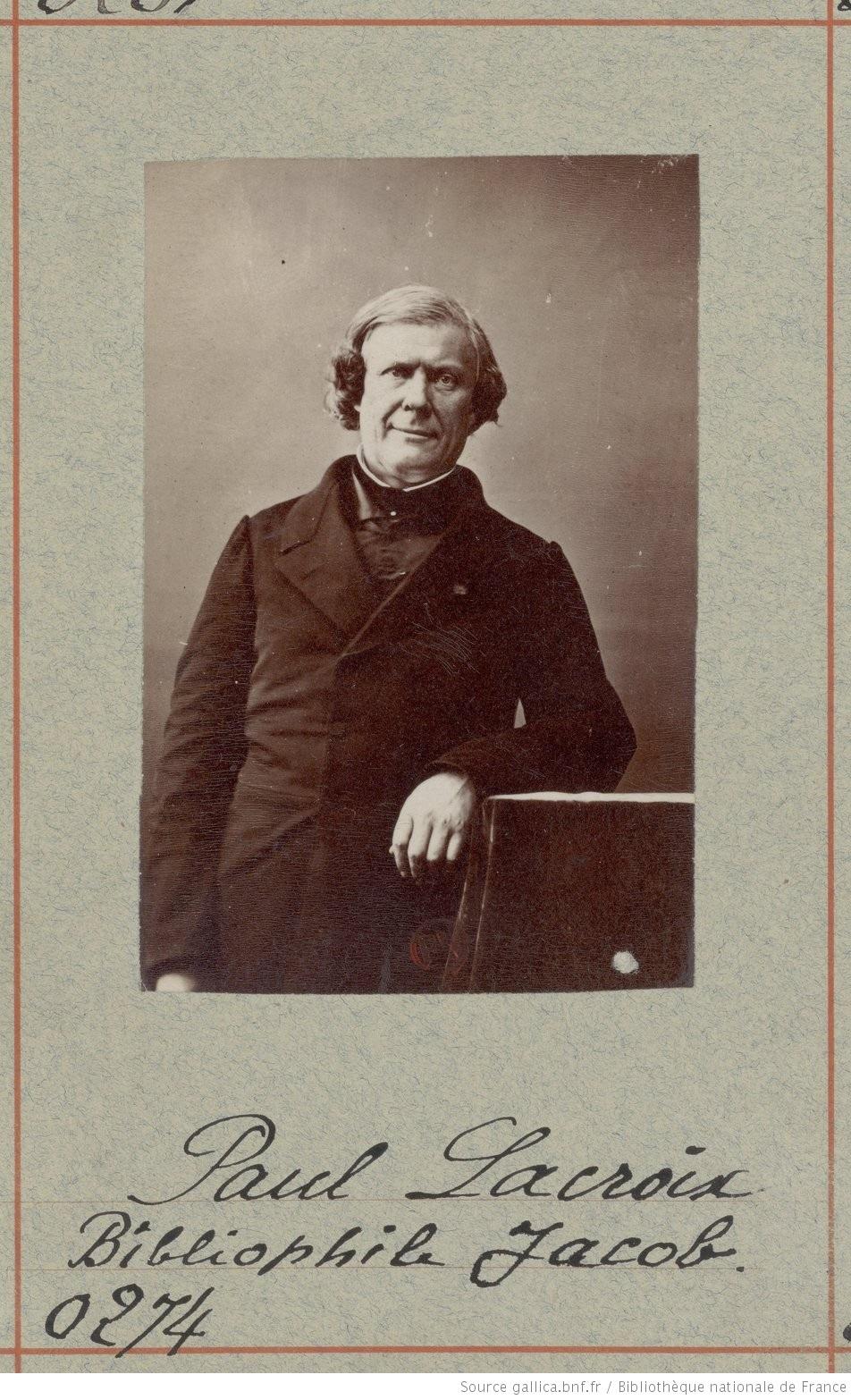 Portrait photographique de Paul Lacroix (Bibliophile Jacob) par Nadar. Vers 1900. Gallica (BnF)