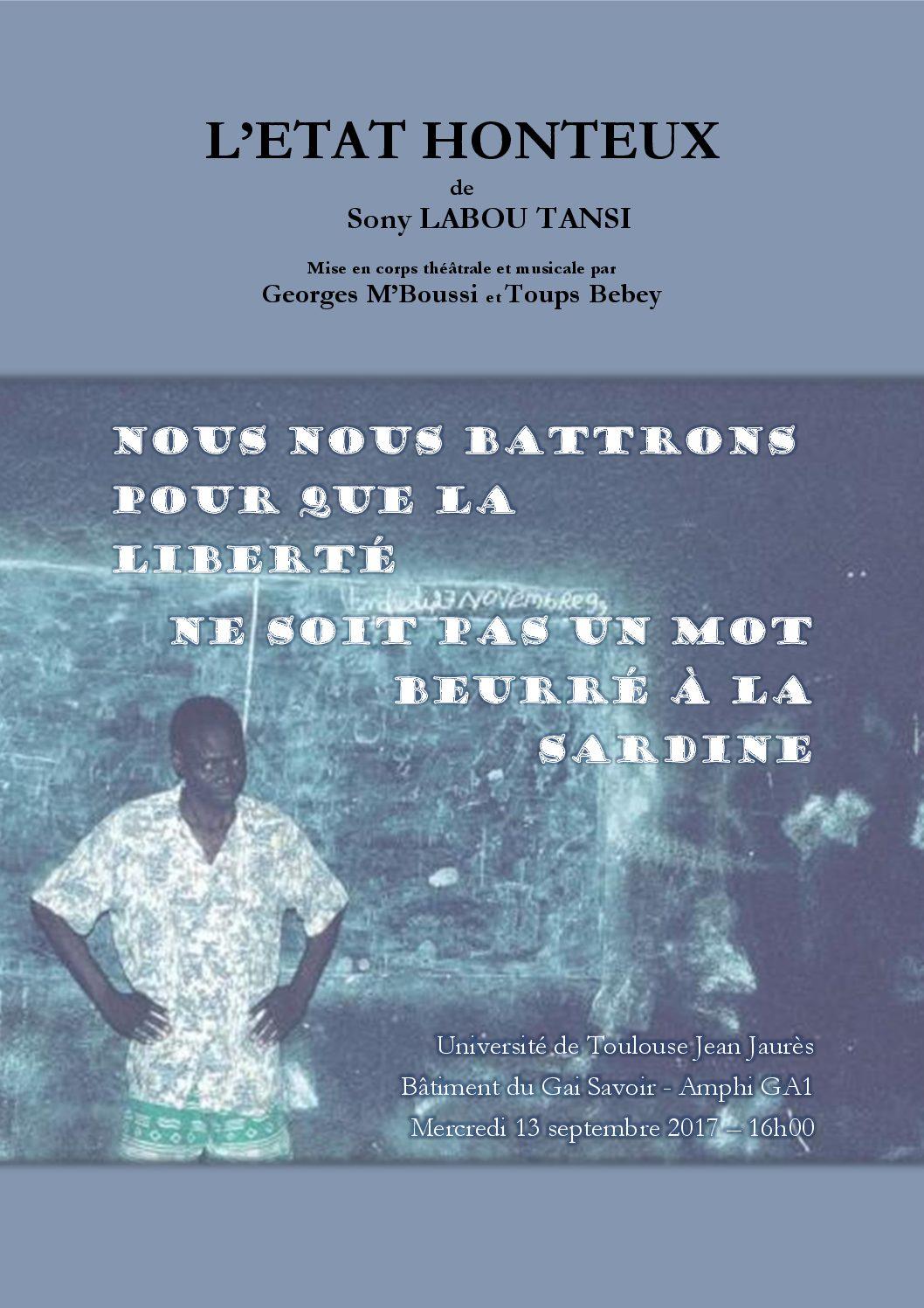 Stage de rentrée EuroPhilosophie 2017 / Labou Tansi