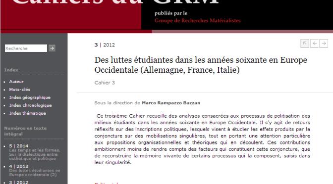 Cahier 3 : Des luttes étudiantes dans les années soixante en Europe Occidentale (Allemagne, France, Italie)