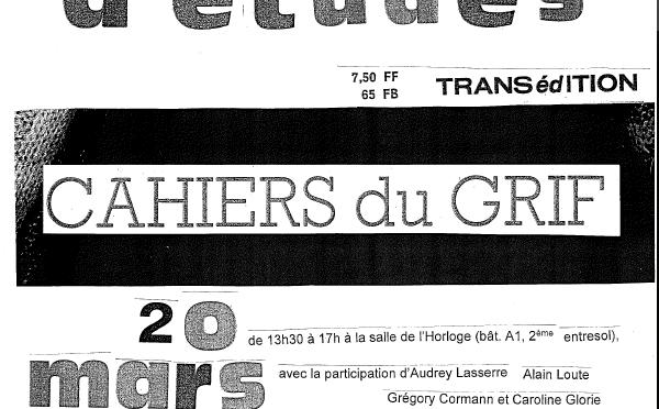 20.03.2018 Les Cahiers du GRIF Liège/ Journée d'études