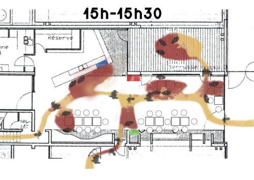 Schéma de programme actantiel, caféteria de L'ENSAG entre 15h et 15h30 réalisé par Franz Alex le 22 mai 2017