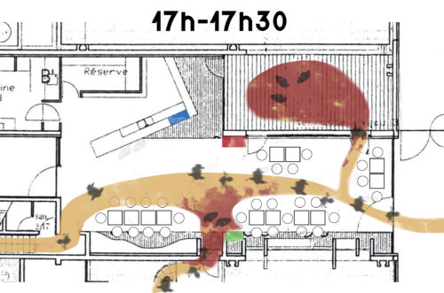 Schéma de programme actantiel, caféteria de L'ENSAG entre 17h et 17h30 réalisé par Franz Alex le 22 mai 2017