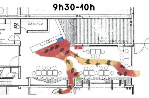 Schéma de programme actantiel, caféteria de L'ENSAG entre 9h30h et 10h réalisé par Franz Alex le 22 mai 2017