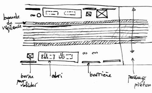 Schéma plan de l'arrêt de Tram Chavant