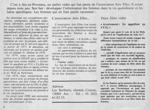 """Présentation de l'atelier vidéo né au sein de l'association Aire Elles dans la revue """"Visuelles"""" (n°1 - février 1980)"""