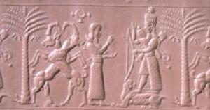 Sceau néo-assyrien (720-700 avant J.-C.). Ishtar représentée entre deux palmiers-dattiers.