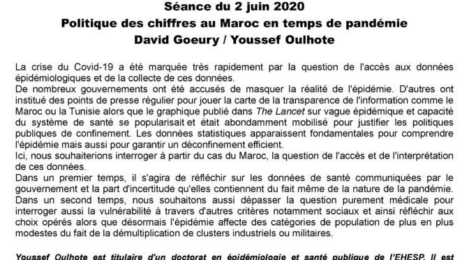 politique des chiffres au Maroc en temps de pandémie: SOCOSMA Séance du 2 juin 2020 Par David Goeury / Youssef Oulhote