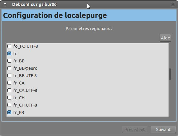 configuration de localepurge