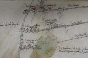 Šerlink-Schiffsmühlen in der Prager Neustadt im Jahre 1610 (Detail), (Archiv der Hauptstadt Prag, Handschriftensammlung, Sign. 3469, Fol. 12r)