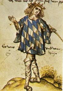 Herold Jörg Rugen mit bayerischem Wappenrock. Österreichische Nationalbibliothek, Cod. 2936, Part 2, fol 11v. en.wikipedia [public domain] Wikimedia Commons
