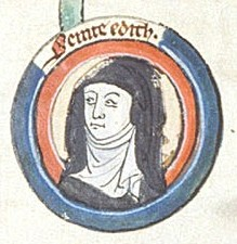 Saint Edith of Wilton, (961-984) was the illegitimate daughter of Anglo-Saxon King Edgar the Peaceable.  She was born, educated and died at Wilton Abbey. Image from 13th C. British Library manuscript in public domain, http://molcat1.bl.uk/IllImages/Kslides%5Cbig/K066/K066606.jpg