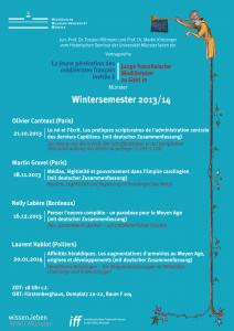 Das Programm der Jeune génération im Wintersemester 2013/14