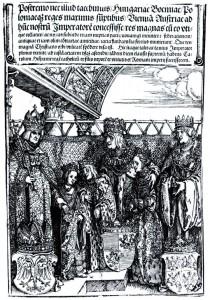 """Die Wiener Doppelhochzeit, Ausschnitt aus dem Druckwerk """"Ehrenpforte"""", Albrecht Dürer, 1515 (Quelle: Wikimedia Commons)"""