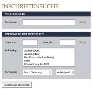 Das Suchinterface der Deutschen Inschriften (www.inschriften.net).