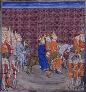 Entrée de Charles V de France, Charles IV de Luxembourg et Wenceslaus à Paris. Grandes Chroniques de France, Bibliothèque Nationale, Ms. fr. 2813, fol. 470v (Source: http://commons.wikimedia.org/wiki/File:Trojka_pariz.jpg?uselang=de)