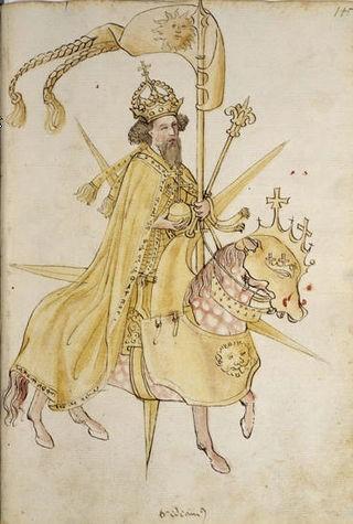 Crypto-portrait de Sigismond de Luxembourg dans le Kriegsbuch de Johann Hartlieb, ÖNB Cod. 3062 (Source: http://commons.wikimedia.org/wiki/File:ZikmundLux.jpg)