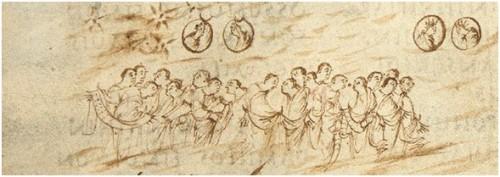 a detail from the Utrecht Psalter (Utrecht, Universiteitsbibliotheek, MS 32, p. 28)