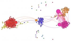 Abbildung 2: Das visualisierte Facebooknetzwerk meiner Kollegin.