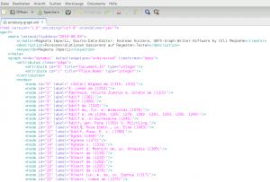 Abbildung 11: Liste aller im Register vorkommenden Einträge, in Gephi als nodes bezeichnet