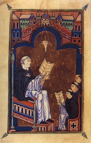 (Hugo von Sankt Viktor beim Unterricht in seiner Klosterschule in Paris, aus: Oxford, Bodleian Library, Ms. Laud. Misc. 409, fol. 3v. Quelle: Wikimedia Commons)