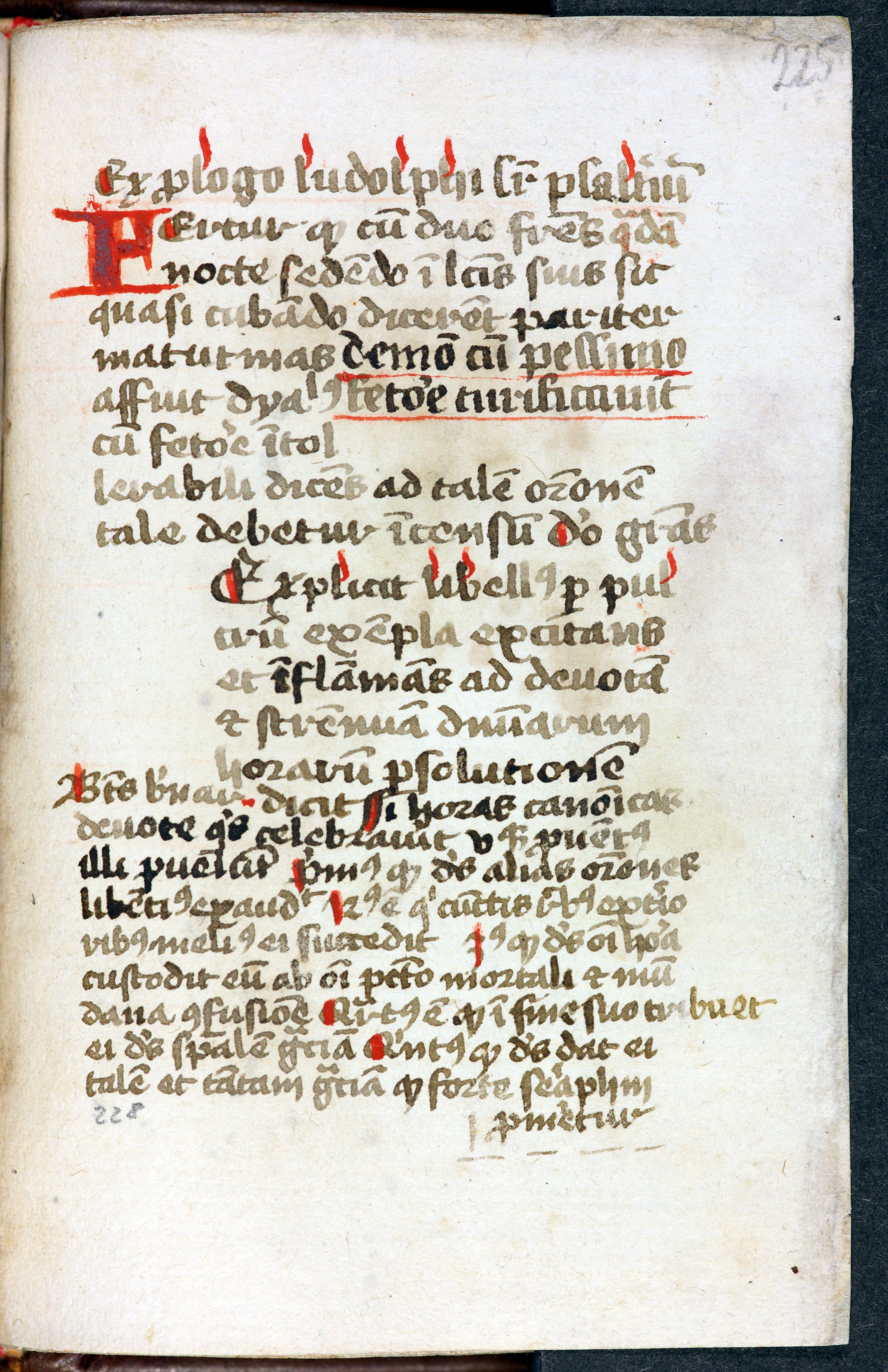 Abb. 3) Ende der Exempelsammlung des Kartäusers Laurentius Muschesele (Rochlitz, Schloss, Inv.-Nr. Roc_681, 225r)