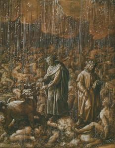 Jan van der Straet/ Giovanni Stradano: Illustration zum Dantes Göttlicher Komödie, Canto VI: Die der Völlerei Schuldigen liegen im ewigen Regen und Hagel und wälzen sich im Schlamm. Ihre Körper sind durchscheinend (Quelle: Wikimedia Commons)
