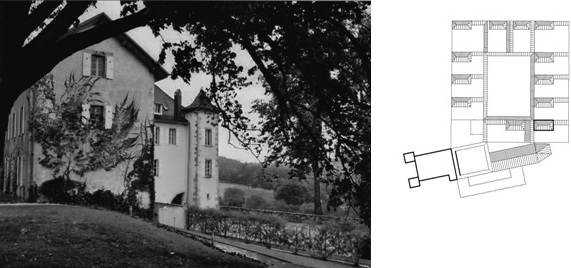 Figure 11: La Chartreuse de Pomiers, Charterhouse in Southern France, photograph and ground plan drawing (original scale 1:1.000) by E. Nagel.