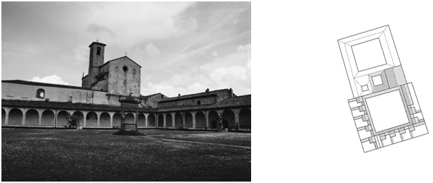 Figure 15: Certosa di Pontignano, Charterhouse in Tuscany, Italy, photograph and ground plan drawing (original scale 1:1.000) by E. Nagel.