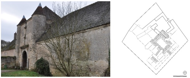 Figure 16: La Chartreuse de Basseville, Charterhouse in Central France, photograph and ground plan drawing (original scale 1:1.000) by E. Nagel.