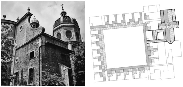 Figure 20: La Chartreuse de Lyon, Charterhouse in Southern France, photograph and ground plan drawing (original scale 1:1.000) by E. Nagel.