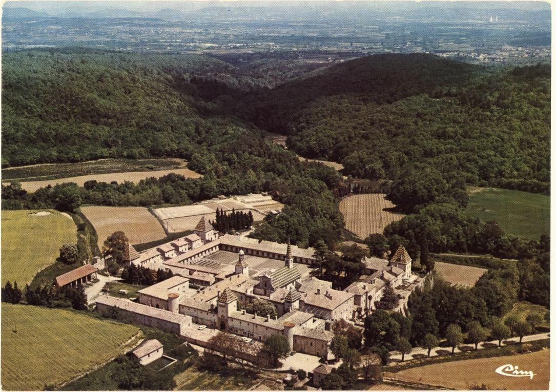 Figure 3: Aerial view of La Chartreuse de Valbonne, Southern France, source: historic postcard in the private archive of La Charteruse de Valbonne.