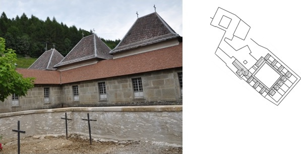 Figure 8: La Chartreuse de Portes, Chartrehouse in Southern France, photograph by T. Riegler and ground plan drawing (original scale 1:1.000) by E. Nagel.