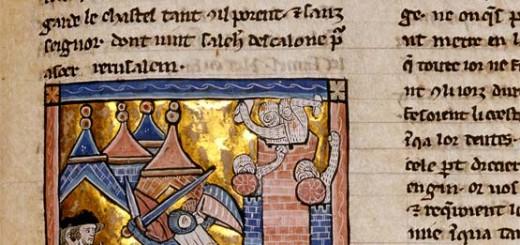 Geschichte und Geschichten über Kreuzzüge sind in Text und Bild überliefert (Ausschnitt aus einer Wilhelm von Tyrus-Bilderhandschrift, Burgerbibliothek Bern, Cod. 163, f. 252r)..
