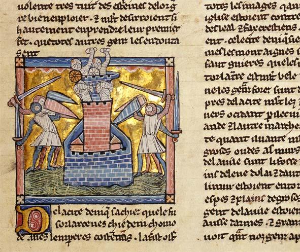 Belagerungsszene in Wort und Bild (Ausschnitt aus einer Wilhelm von Tyrus-Bilderhandschrift, Burgerbibliothek Bern, Cod. 163, f. 59v