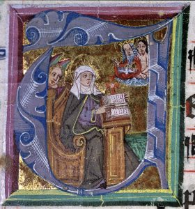 Birgittine antiphoner, Initial T, Saint Birgitta Receiving the Liturgy for Her Order. License: Photo: Volker Schier
