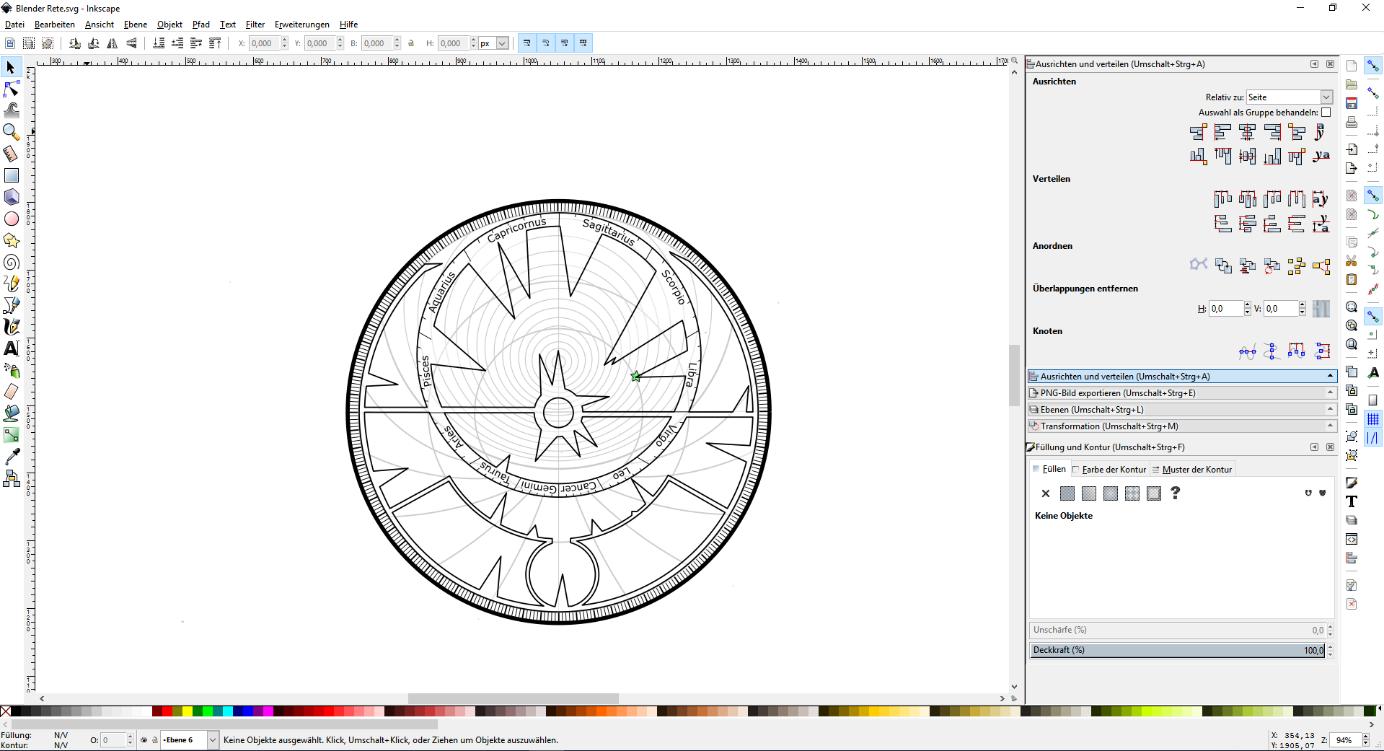 Bild 2: Konstruktion der rete mit Inkscape (eigener Screenshot)