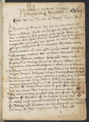 Abb. 5: Erste Seite des apokryphen Jesus-Briefes an König Abgar von Edessa in Ruppert 2666, fol. 2r. Foto: Klassik Stiftung Weimar.