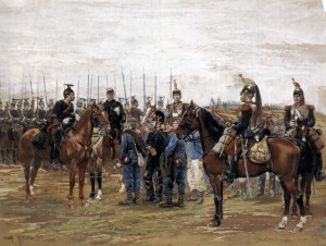 Detaille_-_A_French_Cavalry_Officer_Guarding_Captured_Bavarian_Soldiers