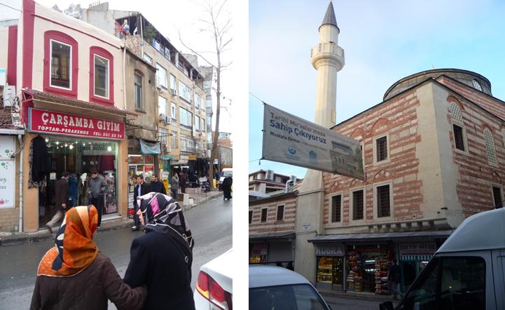 Janvier 2011, sur la rue commerçante de Çarşamba. À gauche, une boutique de vêtements  (vente en gros et au détail). À droite, la mosquée d'İsmail Ağa, en réfection avec le soutien du maire d'arrondissement et d'Istanbul 2010 (les fonds sont alloués à la bibliothèque abritée dans ses murs)