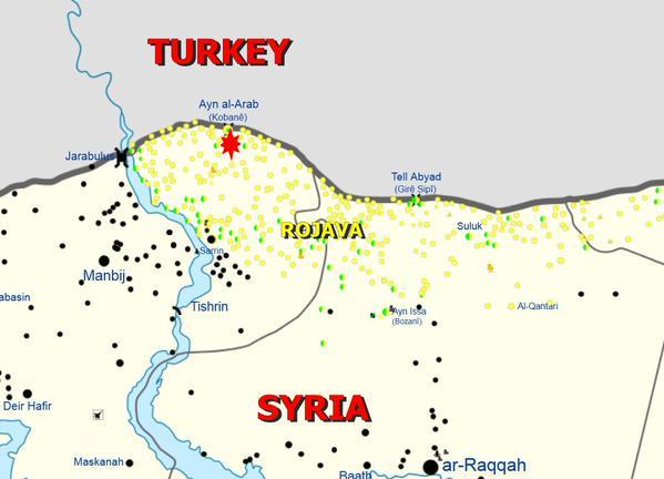 Frontière turco-syrienne et lieu de l'explosion mortelle du 25 06 2015 (source Twitter) (en jaune les positions du YPG)