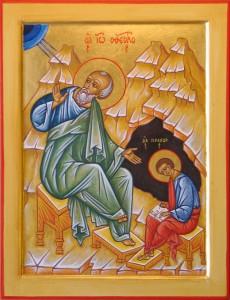 Saint Jean l'évangéliste dictant l'évangile à Prochore, sous l'inspiration du Saint Esprit.