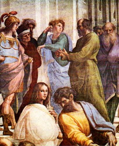 Socrate (à droite) et Alcibiade (à gauche), détail de l'Ecole d'Athènes, de Raphaël