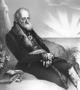 """Titelbild aus Johanns Gistels """"Leben des preußischen General's Freiherrn Theodor von Hallberg-Broich, genannt """"Eremit von Gauting"""", Berlin 1863 (Bild: Von Ferdinand Freiherr von Lütgendorff-Leinburg (1785-1858) [Public domain], via Wikimedia)."""