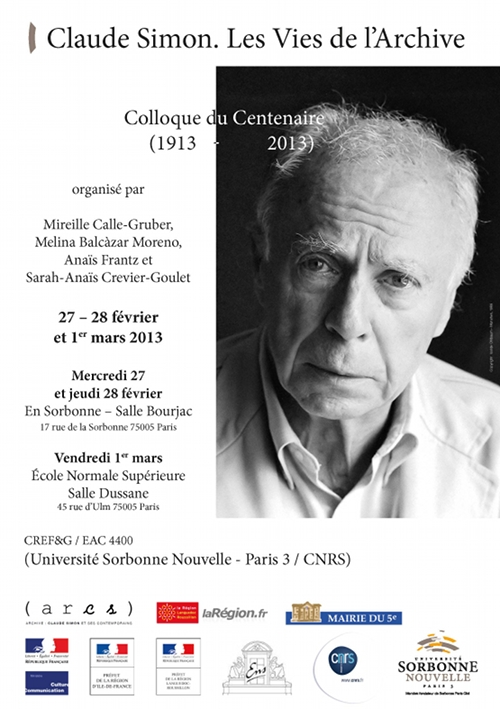 Affiche du colloque Claude Simon. Les Vies de l'Archive