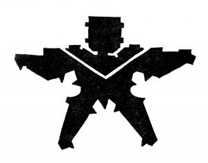 Bruno Zevi, Umzeichnung der Festungsstudie Michelangelos. Die schwarzen Flächen zeigen den Leeraum in Form einer menschlichen Gestalt, 1964