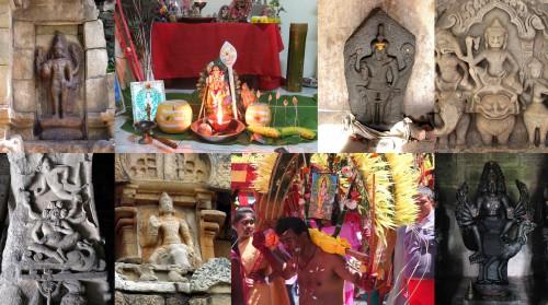 De gauche à droite: 1. Temple de Cōḻapuram, Tamil Nadu © E. Francis. 2. Autel domestique dédié à Murukaṉ lors du festival de Tai Pūcam, île Maurice © Pierre-Yves Trouillet. 3. Temple d'Eḷavāṉācūrkōṭṭai, Tamil Nadu © E. Francis. 4. Śiva entre Gaṇeśa et Skanda, fin du XIe ou début du XIIe siècle, linteau en grès provenant du temple de Phimai (province de Nakhon Ratchasima, Thaïlande), Musée national de Phimai © Brice Vincent. 5. Grotte 8 à Yungang (« Crête de nuage »), près de la ville Datong, Shanxi, nord de la Chine © Michael D. Gunther / www.art-and-archaeology.com. 6. Mūvarkōyil à Koṭumpāḷūr © E. Francis. 7. Dévot de Murukaṉ portant un kāvaṭi durant le festival de Tai Pūcam, île Maurice © Pierre-Yves Trouillet. 8. Temple de Vāyalūr © V. Gillet.
