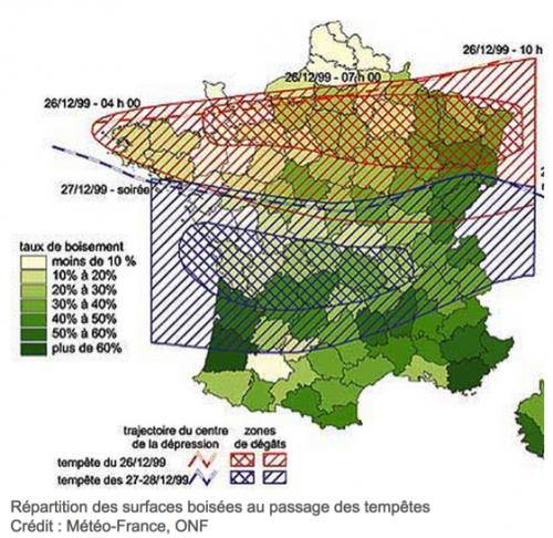 Figure 2 Carte des dégâts causés à la couverture forestière par les ouragans Lothar et Martin