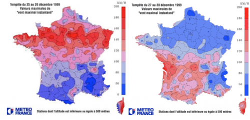 Figure 1 Vitesses du vent des ouragans Lothar (g) et Martin (d) (Source : Météo France)